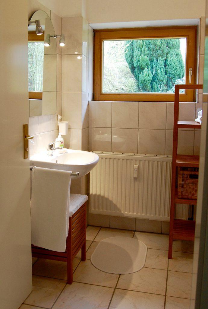 Das kleine Badezimmer mit Dusche und WC
